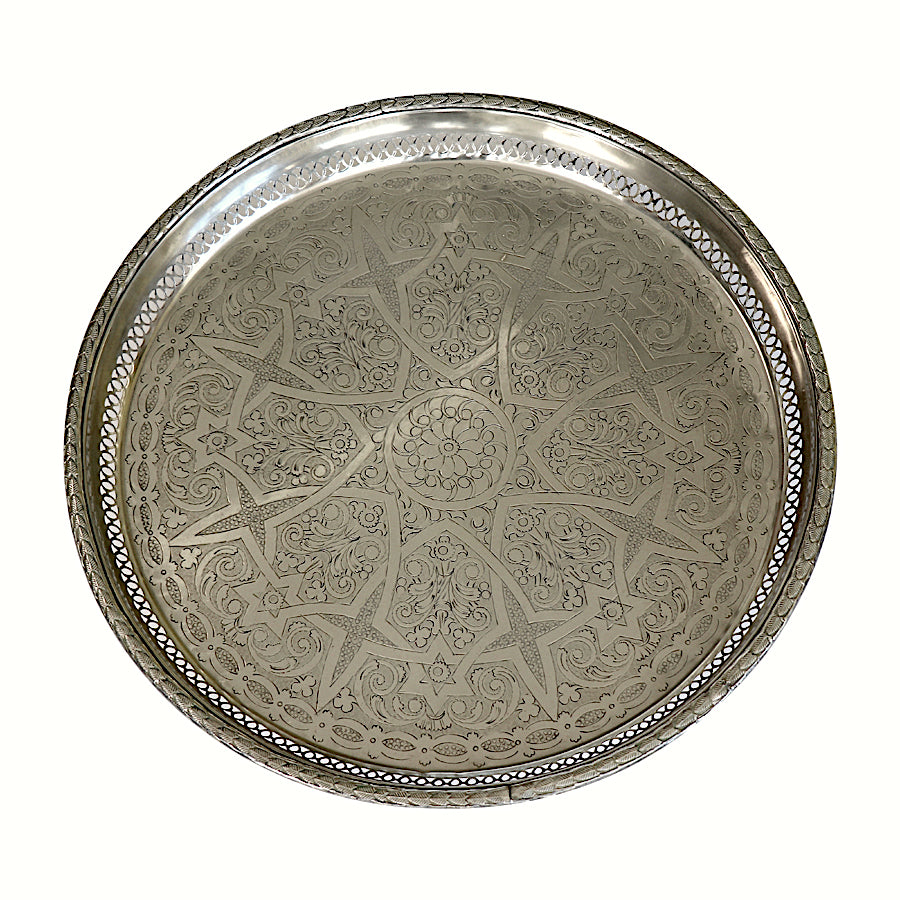 Moroccan Silver Serving Tray