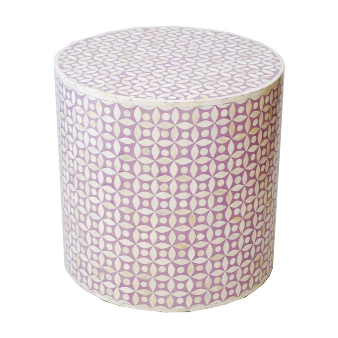 Purple Bone Inlaid Drum Table