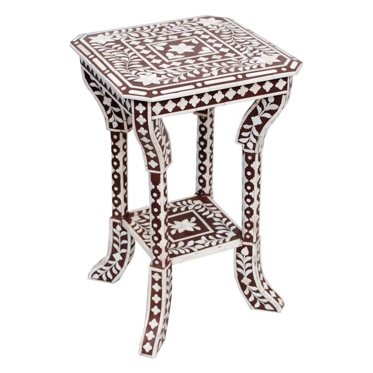 Indian Brown Bone Inlaid Side Table