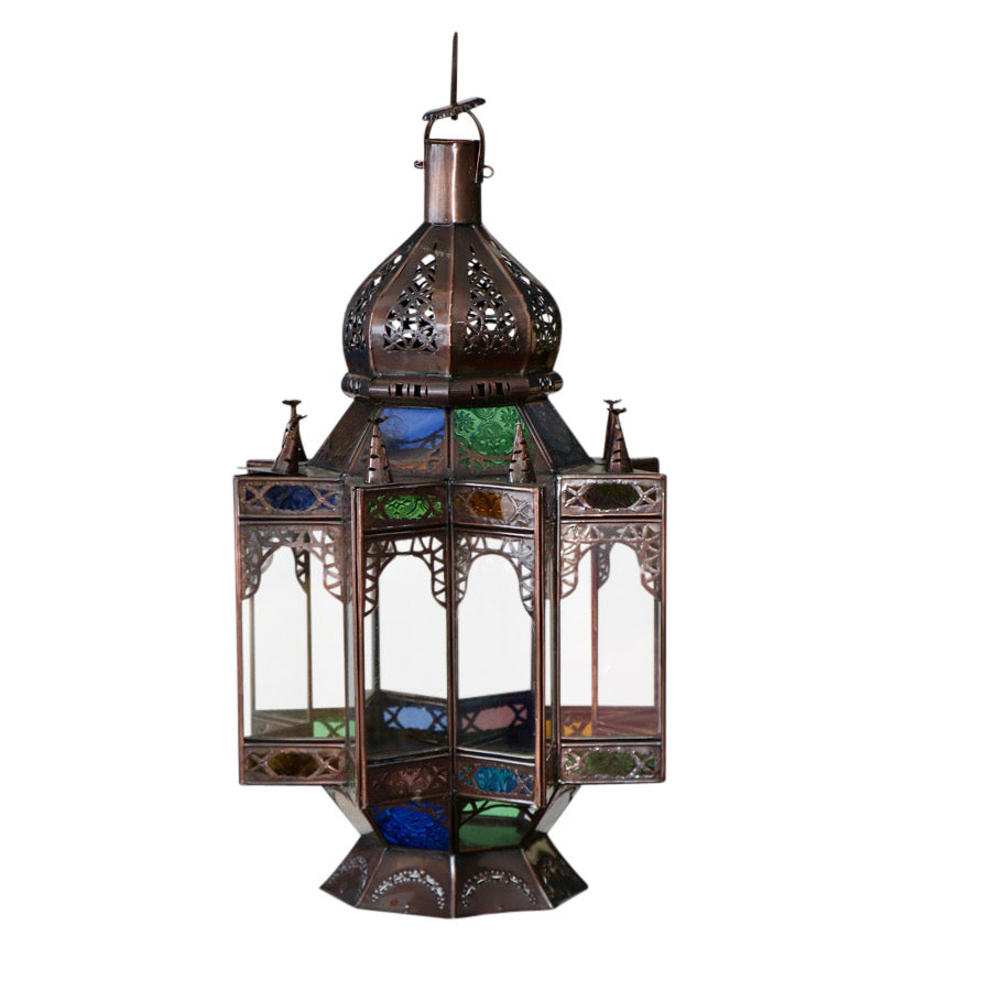 Moroccan Glass & Dark Metal  Lantern