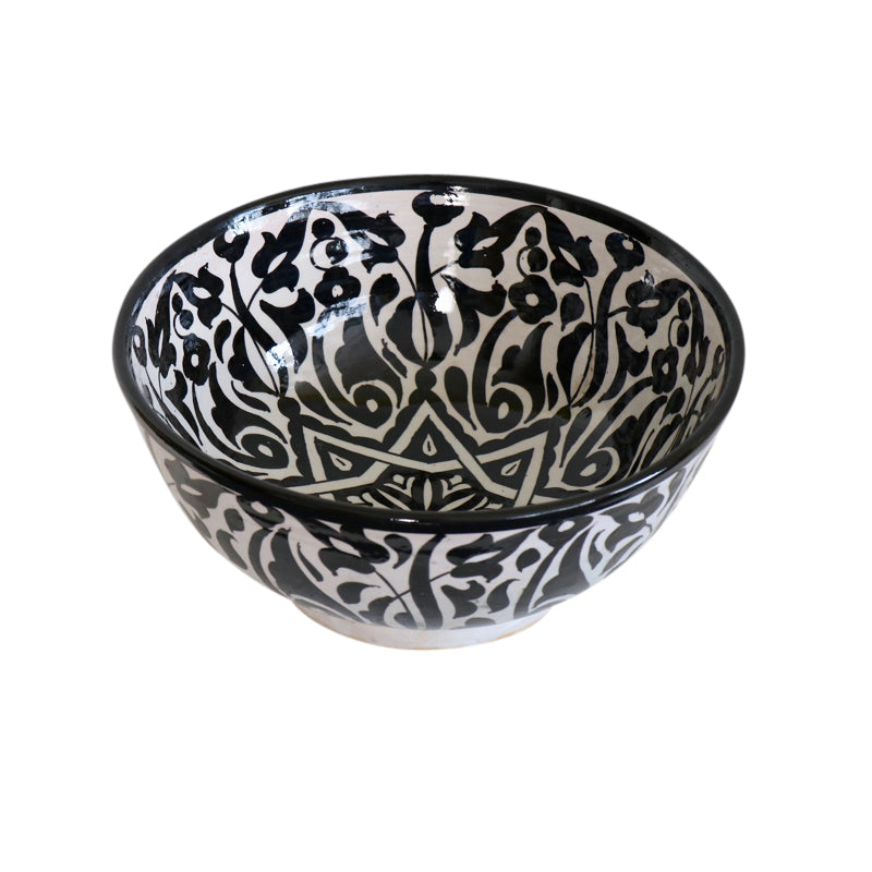 Moroccan Black & White Ceramic Bowl