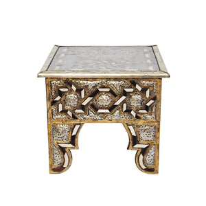Moroccan Bone Inlaid & Metal Coffee Table