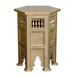 Gold Moroccan Wooden Side table