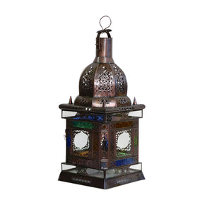 Moroccan Colored Glass Iron Lantern