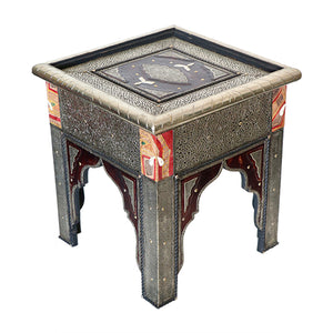 Moroccan Touareg leather & Metal Side Table