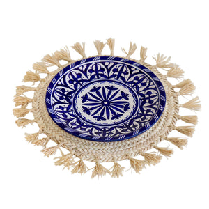 Moroccan Blue & White Ceramic Plate.