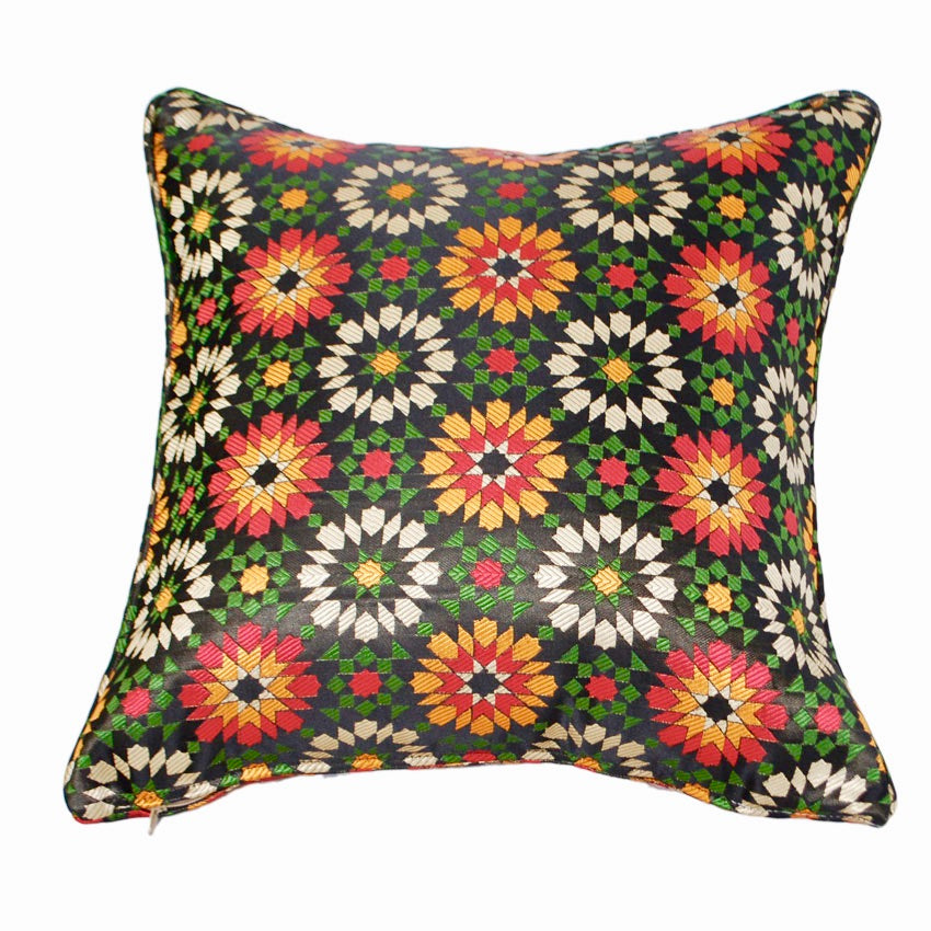 Moroccan Black Mosaic Fabric Pillow