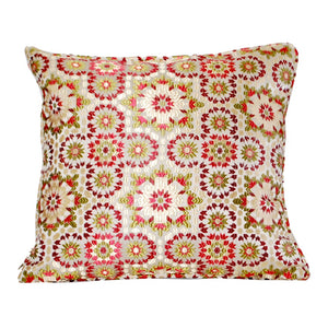 Moroccan Red Mosaic Fabric Pillow