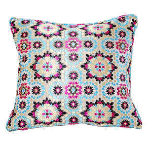 Moroccan Blue Mosaic Fabric Pillow