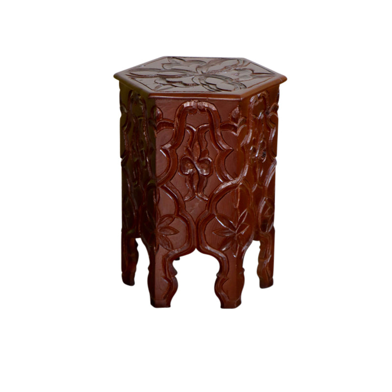 Moroccan Carved Wood Table