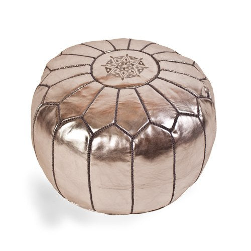 Moroccan Silver Leather Pouf
