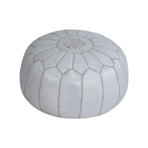 Moroccan White Leather Pouf