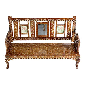 Indian Antique Bone Inlay Bench
