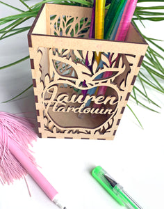 Laser cut teacher pencil holder