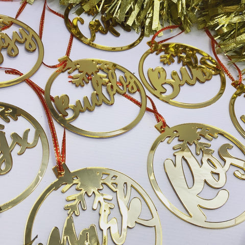 Gold mirror personalized snow baubles