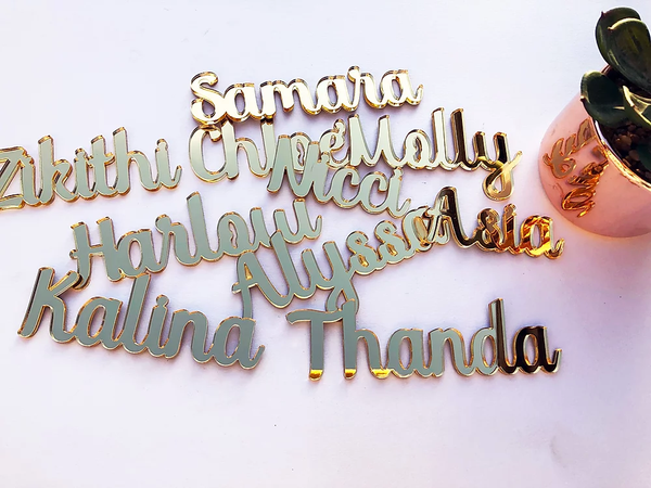 Gold Mirror Perspex Names