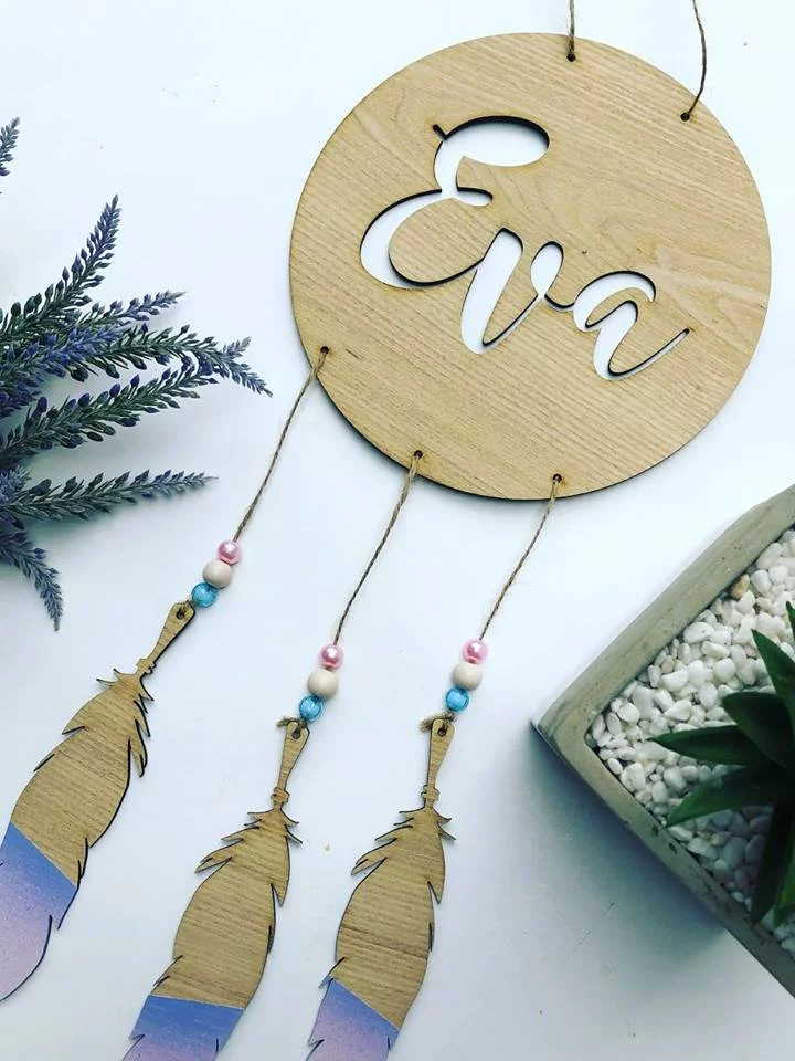 Dream Catcher with Dipped Feathers