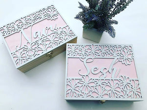 Flower Design - Laser Cut Lid Keepsake Box