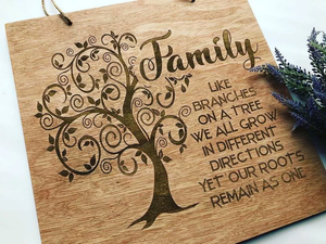 Family Engraved Home Decor Sign