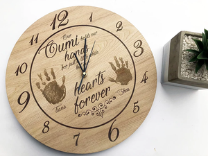 Engraved Clock with Actual Hand Prints