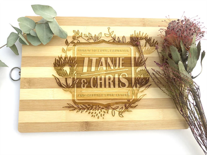 Protea Engraved Wedding Gift Cutting Board
