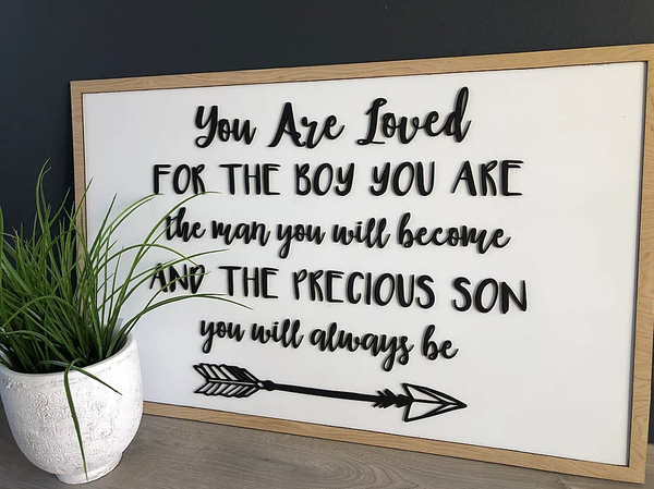 Large Wall Decor with Wooden Laser Cut Message
