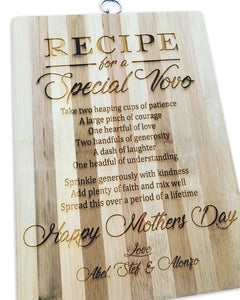 Recipe engraved cutting board
