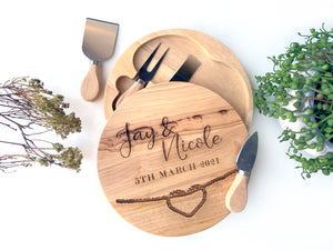 Round Engraved Cheese Board with utensils