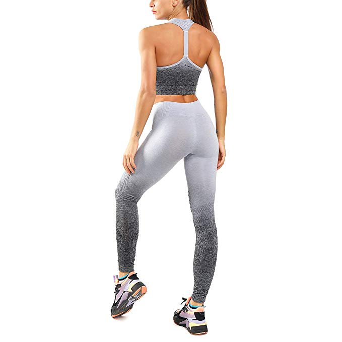 Seamless Legging & Padded Racerback Sports Bra - Gray