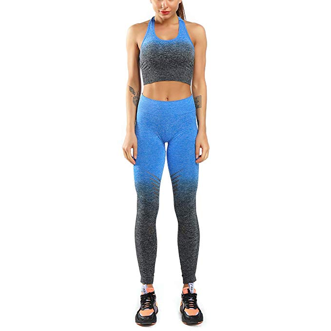 Seamless Legging & Padded Racerback Sports Bra - Blue