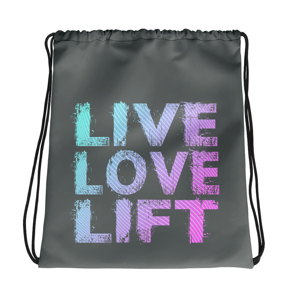 Live Love Lift Drawstring bag