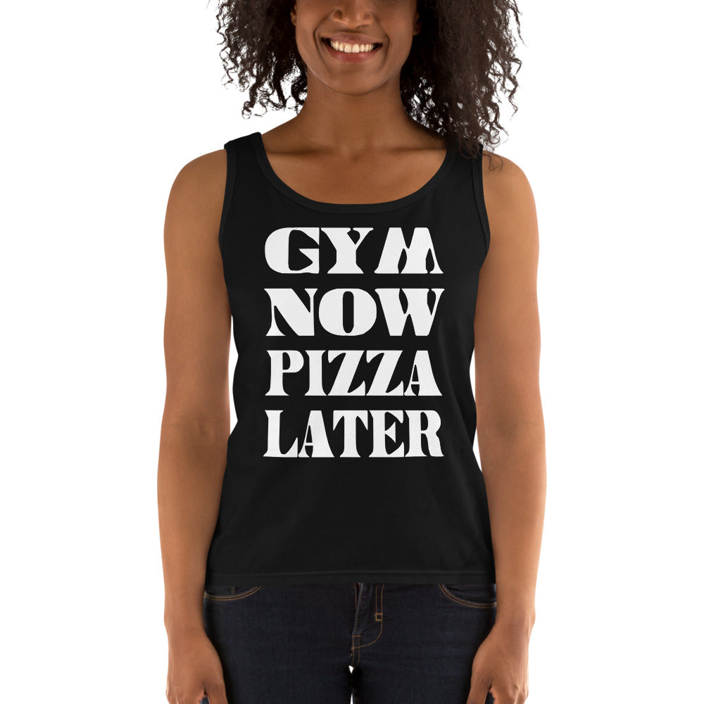 Gym Now Pizza Later Ladies' Tank