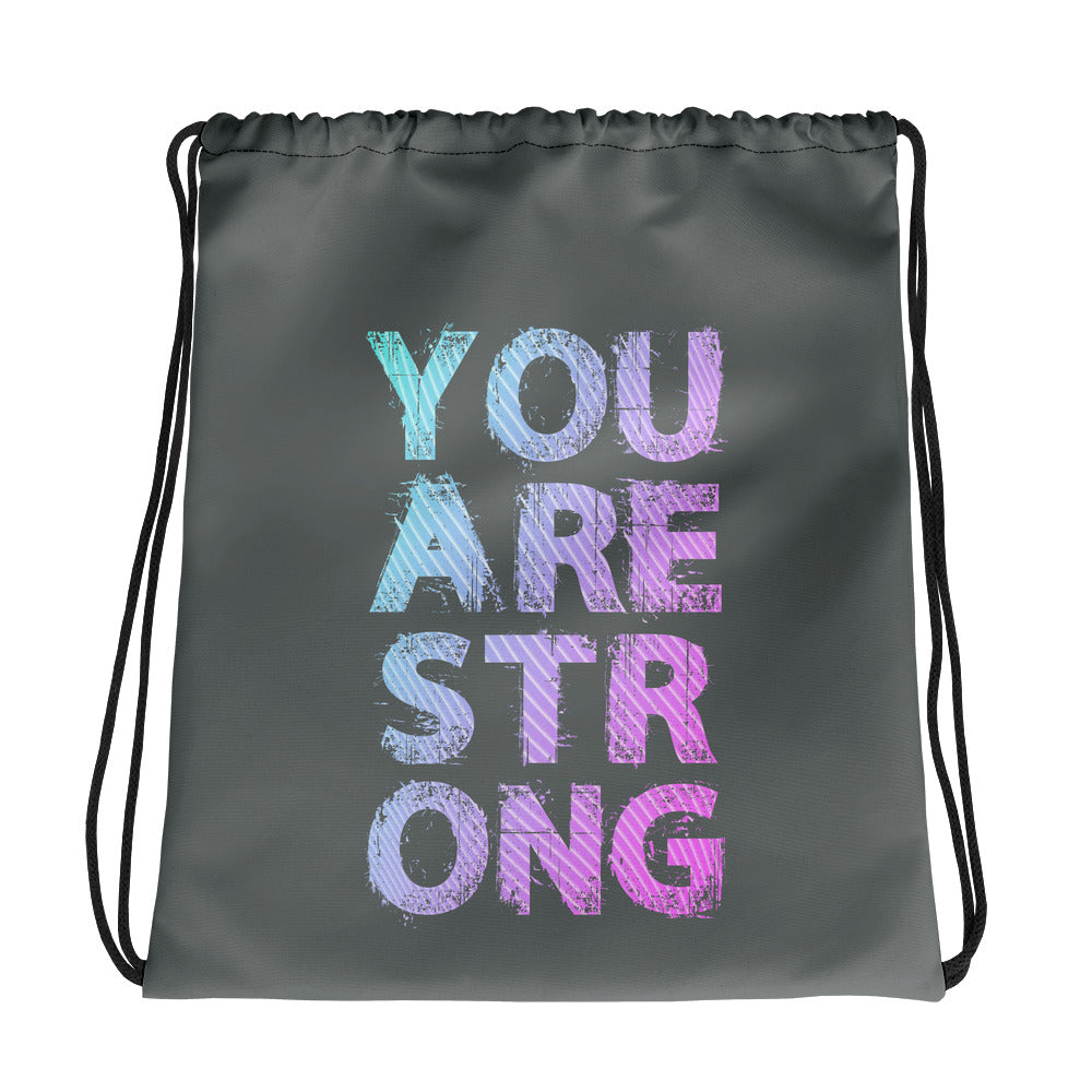You Are Strong Drawstring bag
