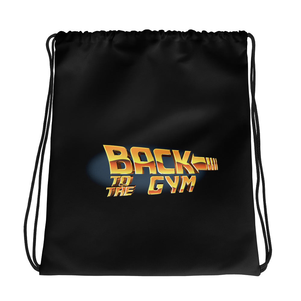 Back To The Gym Black Drawstring bag