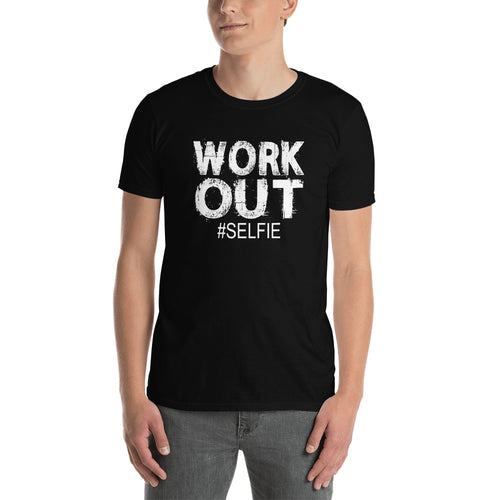 Work Out Selfie Hashtag Short-Sleeve Unisex T-Shirt