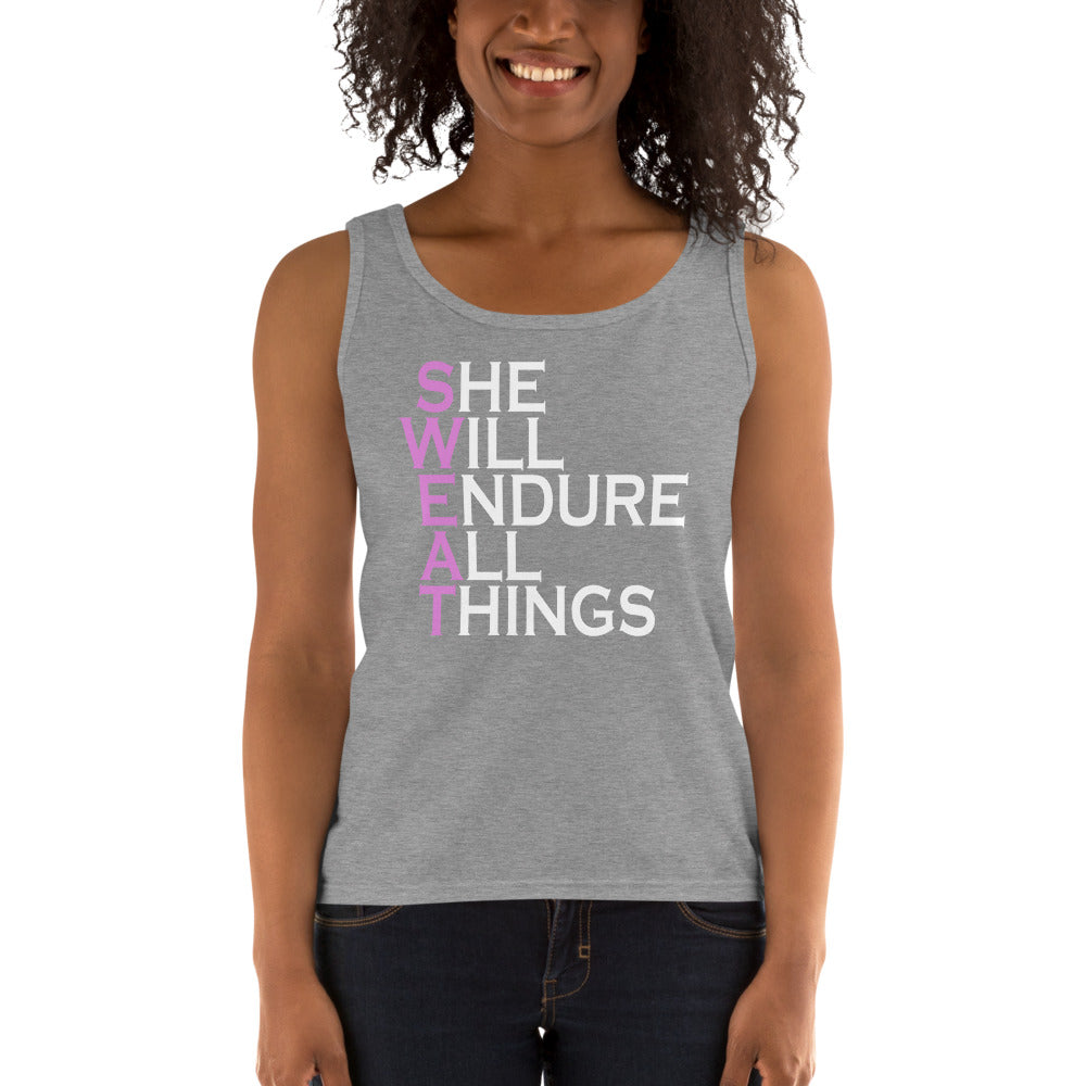 She Will Endure All Things SWEAT Ladies' Tank