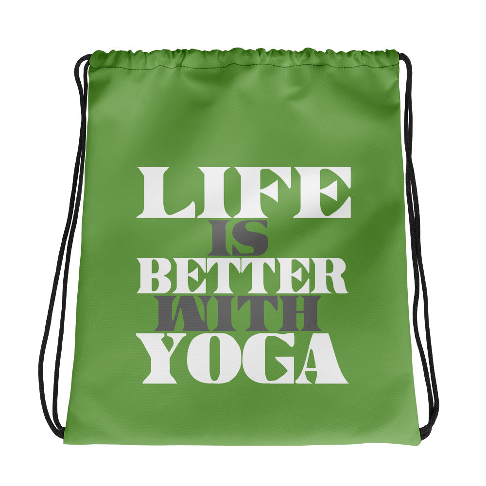 Life Is Better With Yoga Drawstring bag