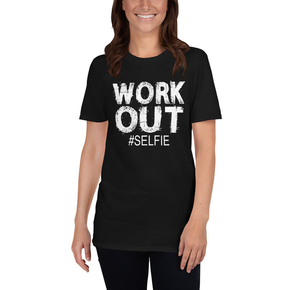 Work Out Selfie Hashtag Short-Sleeve Ladies' T-Shirt