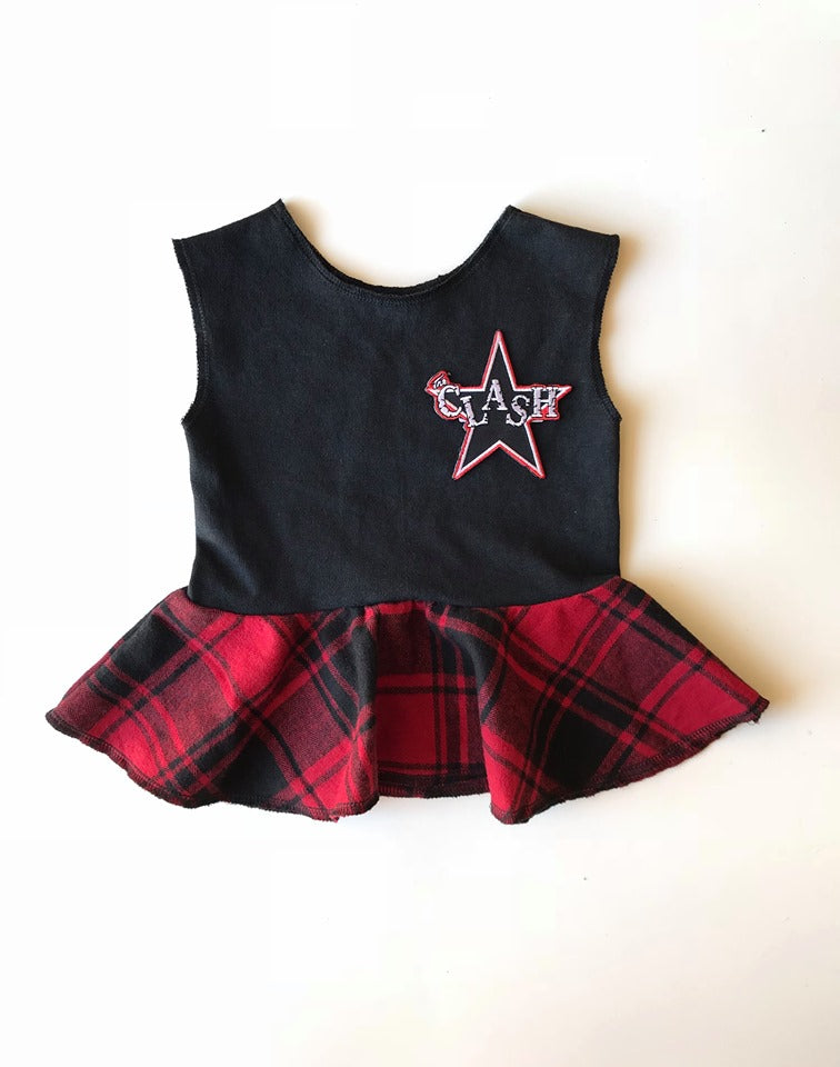 The Clash Flannel Peplum Tank - 6/12M