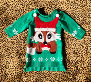 2T Christmas Fox Sweater Dress