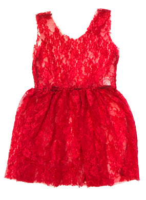 Bright Red Lace Jumper Dress