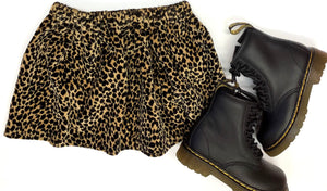Leopard Velour Mini Skirt