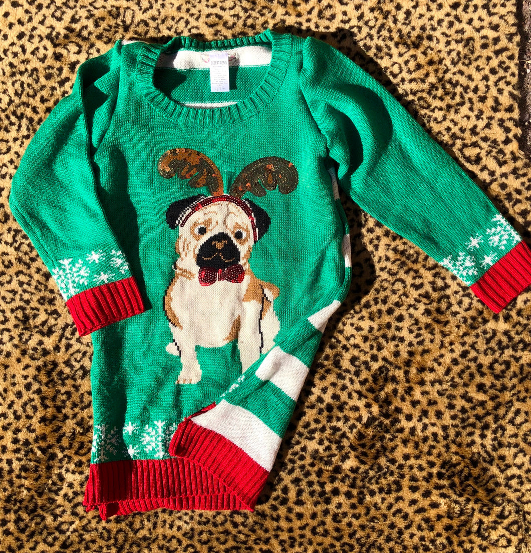 6/7 Christmas Pug Sweater Dress