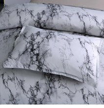 Load image into Gallery viewer, 3 Pcs White  and Black Stone Duvet Cover Set - infoAlamaison
