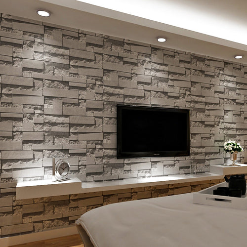 3D Brick Wall Stone Wallpaper - infoAlamaison