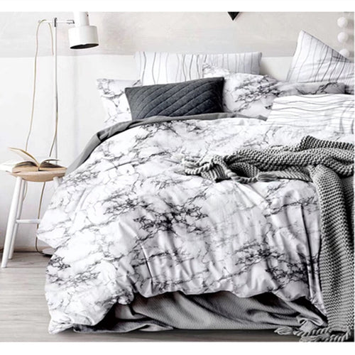 3 Pcs White Black Stone Duvet Cover Set - infoAlamaison
