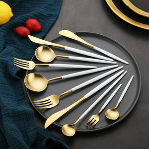 White Gold Steel Cutlery Set - infoAlamaison