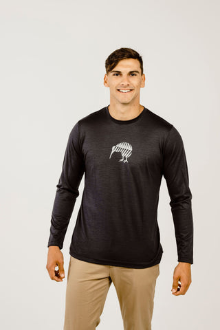 Merino Kiwi Long Sleeve Mens T-Shirt - Kapeka