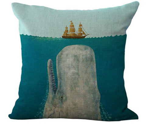 Big Whale Linen Throw Pillow