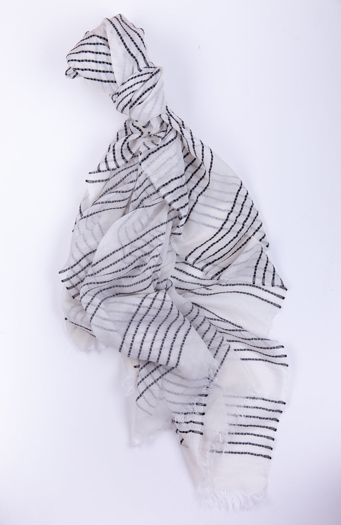 White Scarf with Black Stripes